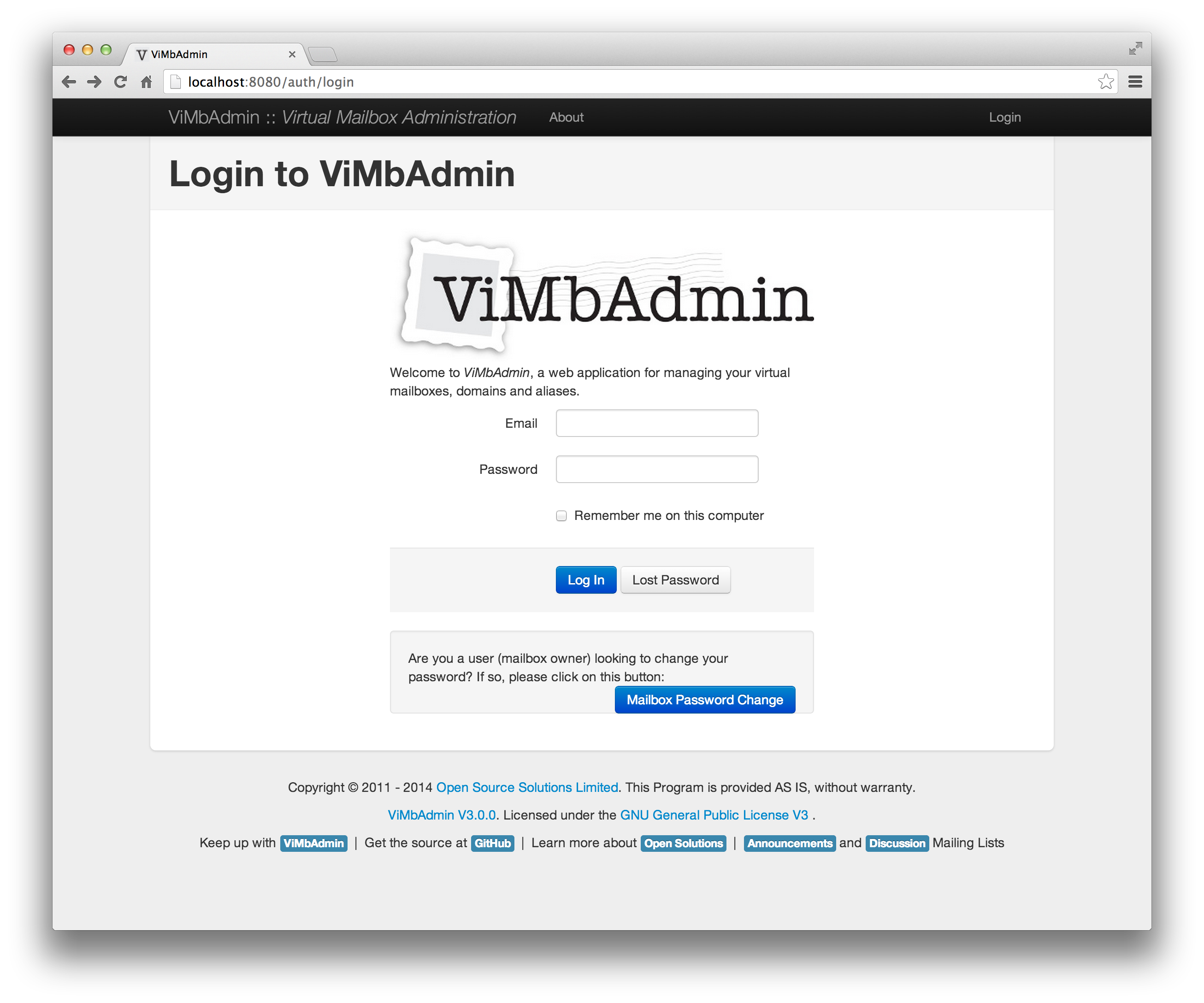 ViMbAdmin :: Virtual Mailbox Administration